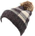 Sakkas Baya Long Tall Checker Pattern Fold Over Faux Fur Pom Pom Unisex Beanie Hat#color_Brown / Beige