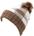 Sakkas Baya Long Tall Checker Pattern Fold Over Faux Fur Pom Pom Unisex Beanie Hat#color_Coffee / White