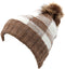 Sakkas Baya Long Tall Checker Pattern Fold Over Faux Fur Pom Pom Unisex Beanie Hat