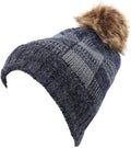 Sakkas Baya Long Tall Checker Pattern Fold Over Faux Fur Pom Pom Unisex Beanie Hat#color_Navy / Grey