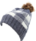 Sakkas Baya Long Tall Checker Pattern Fold Over Faux Fur Pom Pom Unisex Beanie Hat#color_Navy / White
