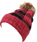 Sakkas Baya Long Tall Checker Pattern Fold Over Faux Fur Pom Pom Unisex Beanie Hat#color_Red / Black