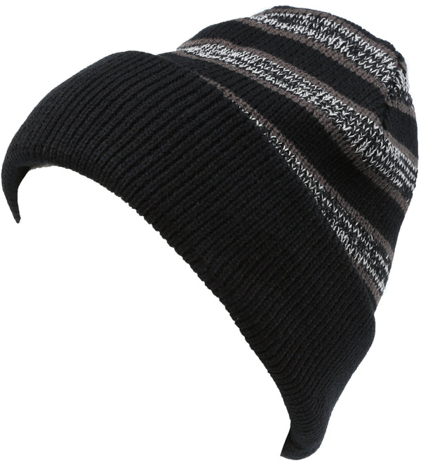 Sakkas Cabbey Mid Weight Striped Multi Colored Ribbed Knit Unisex Beanie Hat#color_Black