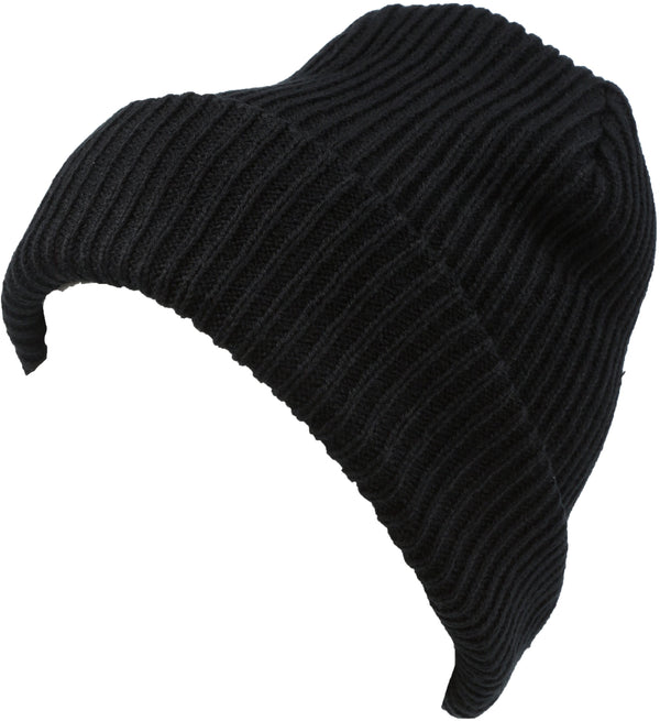 Sakkas Mig Solid Ribbed Knit Fold Over Unisex Long Tall Fit Fishermans Beanie Hat#color_Black