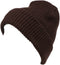 Sakkas Mig Solid Ribbed Knit Fold Over Unisex Long Tall Fit Fishermans Beanie Hat#color_Brown
