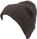 Sakkas Mig Solid Ribbed Knit Fold Over Unisex Long Tall Fit Fishermans Beanie Hat#color_Grey