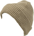 Sakkas Mig Solid Ribbed Knit Fold Over Unisex Long Tall Fit Fishermans Beanie Hat#color_Khaki