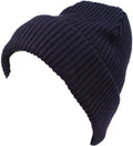 Sakkas Mig Solid Ribbed Knit Fold Over Unisex Long Tall Fit Fishermans Beanie Hat#color_Navy