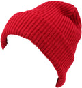 Sakkas Mig Solid Ribbed Knit Fold Over Unisex Long Tall Fit Fishermans Beanie Hat#color_Red