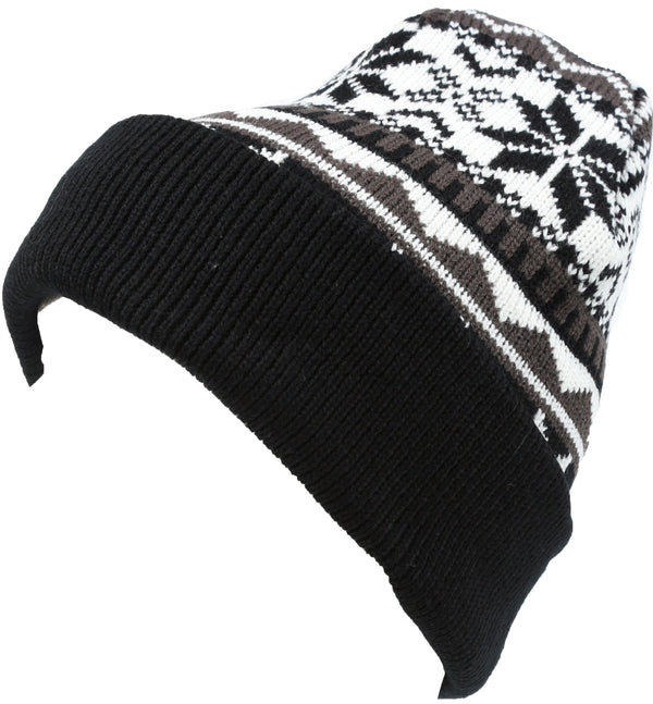 Sakkas Sloan Unisex Fold Over Classic Patterned Snowflake Design Winter Beanie Hat#color_Black