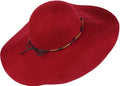 Sakkas Liuliu Wide Vintage Style Floppy Hat Removable Interchangeable Bow Ribbon#color_Burgundy