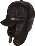 Sakkas Leather Ushanka Faux Mink Fur Tropper Pilot Hat With Earflap#color_Black
