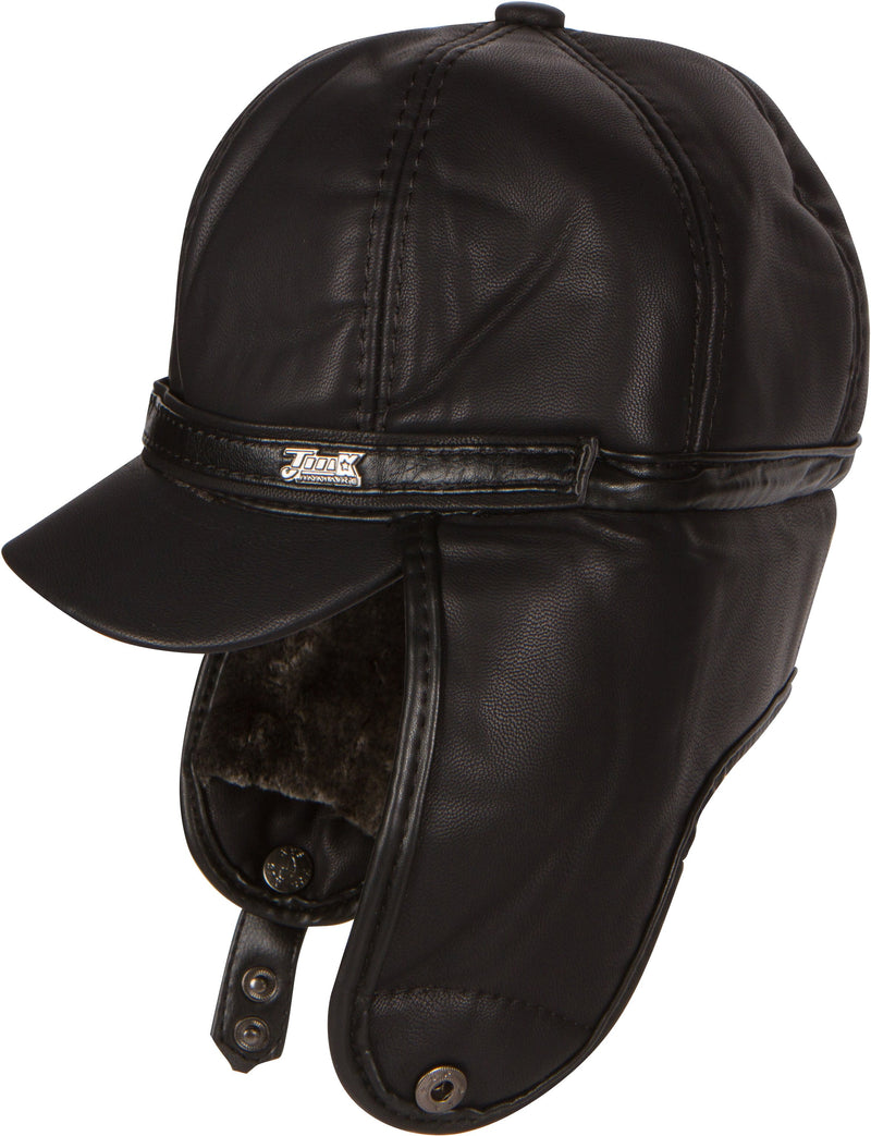Sakkas Leather Ushanka Faux Mink Fur Tropper Pilot Hat With Earflap