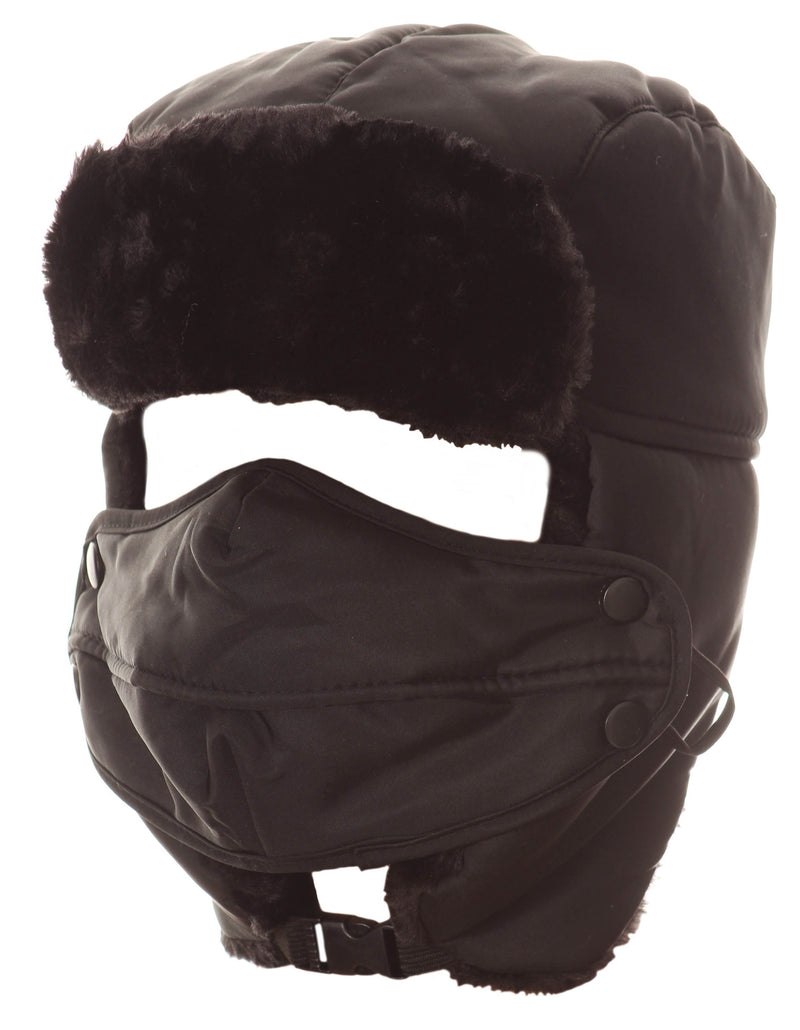 Sakkas Esty Adjustable Chin Buckle Faux Fur Lined Face Mask Unisex Trooper Hat