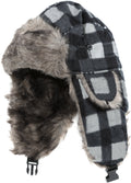Sakkas Caele Unisex Ear Flap Faux Fur Lined Chin Buckle Strap Winter Trooper Hat#color_Grey