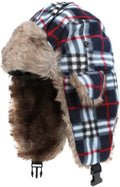 Sakkas Caele Unisex Ear Flap Faux Fur Lined Chin Buckle Strap Winter Trooper Hat#color_Navy