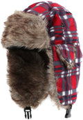 Sakkas Caele Unisex Ear Flap Faux Fur Lined Chin Buckle Strap Winter Trooper Hat#color_Red