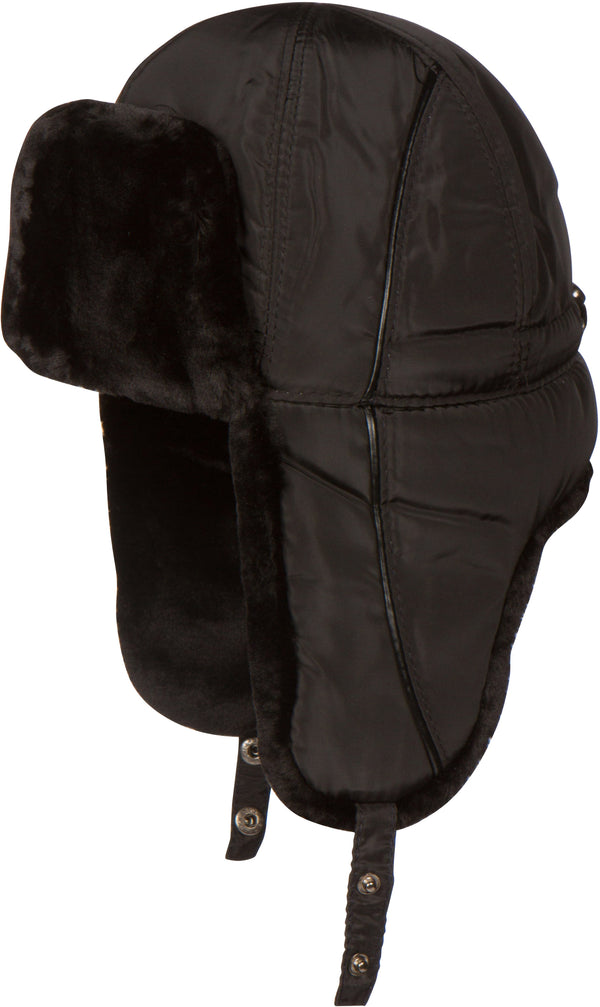 Sakkas Victor Adjustable Aviator Trapper Ushanka Hat Warm Faux Fur and Nylon#color_Black