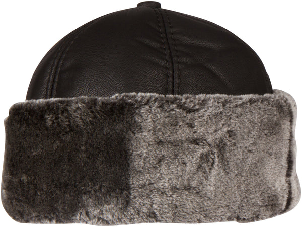 Sakkas Luca Sailing Docker Hat Beanie Convertible Water resistant Faux Fur Lined#color_Black