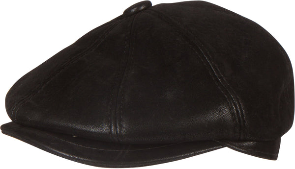 Sakkas Milo Newsboy Cabby Hat Flat Cap Embossed Matte Convertible Insulated#color_Black