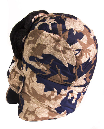 group-18217-Camo-1 (Sakkas Alex Unisex  Ushanka Faux Fur Windproof Trapper Aviator Hat Removable Mask)