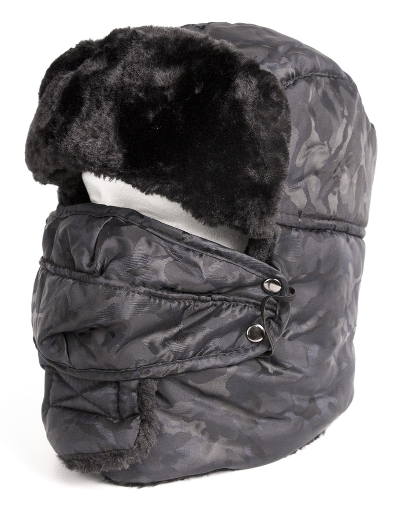 Sakkas Alex Unisex  Ushanka Faux Fur Windproof Trapper Aviator Hat Removable Mask