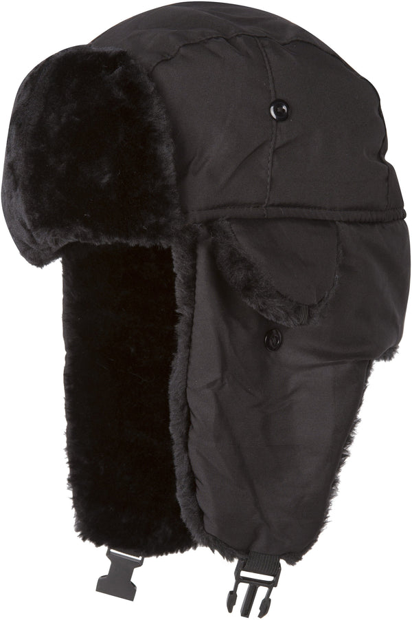 Sakkas Harper Unisex Faux Fur Nylon Trooper Hat#color_black