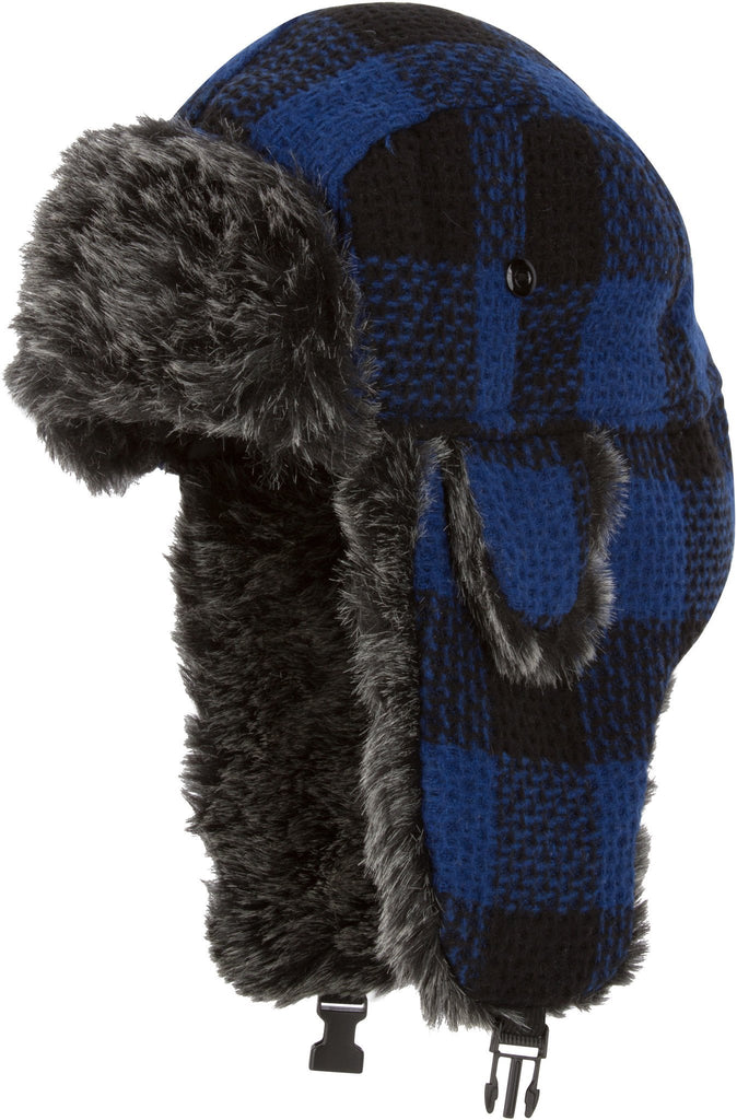 Sakkas Zaire Unisex Plaid Faux Fur Lined Chin Strap Winter Trooper Hat