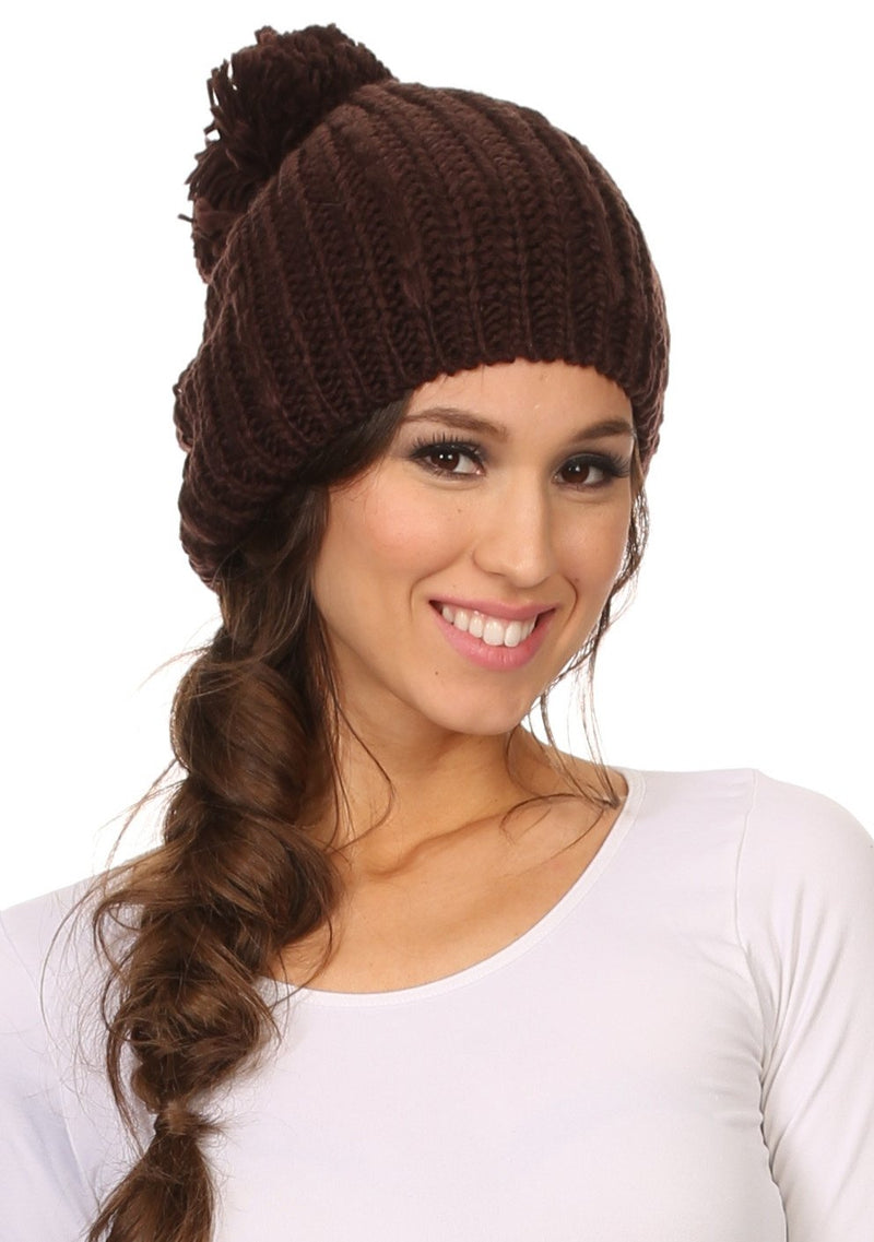 Sakkas Lax Wide Unisex Cable Knit Large Pom Pom Bobble Beanie Hat Cap