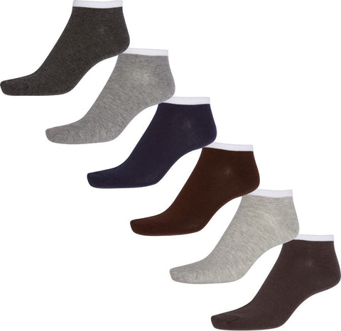 Sakkas Men's Combed Cotton Ankle Socks Assorted 6-Pack