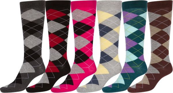 Sakkas Women's Cotton Blend Knee High Socks Assorted Pack#color_Argyle 6-Pack