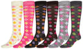 Sakkas Ladies Cute Colorful Design or Solid Knee High Socks Assorted 6-Pack#color_Pink Argyle