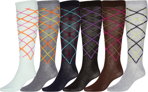 Sakkas Ladies Cute Colorful Design or Solid Knee High Socks Assorted 6-Pack#color_Thin Argyle