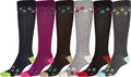 Sakkas Ladies Cute Colorful Design or Solid Knee High Socks Assorted 6-Pack#color_Argyle2