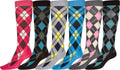 Sakkas Ladies Cute Colorful Design or Solid Knee High Socks Assorted 6-Pack#color_Argyle5