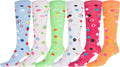 Sakkas Ladies Cute Colorful Design or Solid Knee High Socks Assorted 6-Pack#color_Bubbles