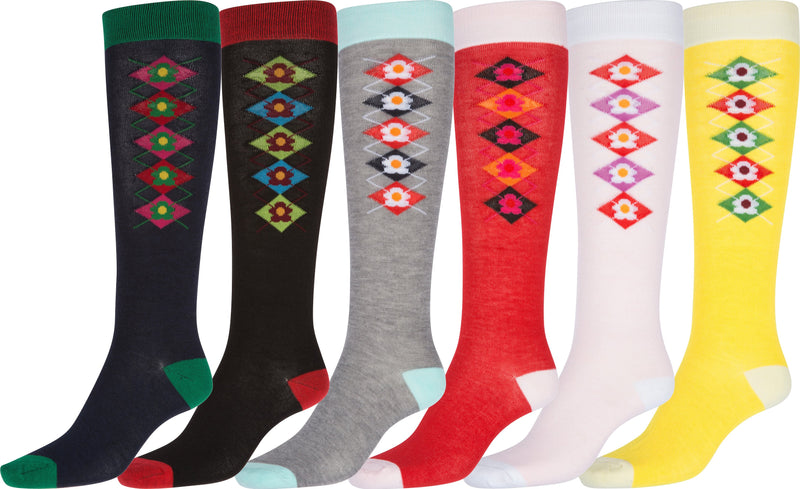 Sakkas Ladies Cute Colorful Design or Solid Knee High Socks Assorted 6-Pack Argyle3