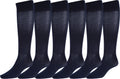 Sakkas Ladies Cute Colorful Design or Solid Knee High Socks Assorted 6-Pack#color_Wide Cuff Navy