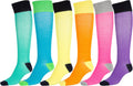 Sakkas Ladies Cute Colorful Design or Solid Knee High Socks Assorted 6-Pack#color_Neon