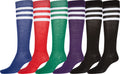 Sakkas Ladies Cute Colorful Design or Solid Knee High Socks Assorted 6-Pack#color_Refree