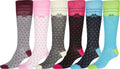 Sakkas Ladies Cute Colorful Design or Solid Knee High Socks Assorted 6-Pack#color_Flakes