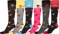 Sakkas Ladies Cute Colorful Design or Solid Knee High Socks Assorted 6-Pack#color_SmallFlowers