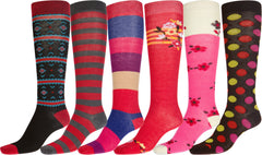 Sakkas Liea Ladies Colorful Unique Pattern / Solid Knee High Socks Assorted 6-Pack