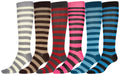 Sakkas Ladies Cute Colorful Design or Solid Knee High Socks Assorted 6-Pack#color_Stripe1