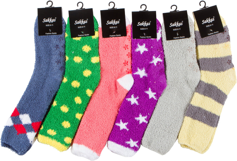 Sakkas Super Soft Anti-Slip Fuzzy Crew Socks Value Assorted 6-Pack