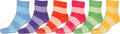 Sakkas Super Soft Anti-Slip Fuzzy Crew Socks Value Assorted 6-Pack#color_Bright Stripe