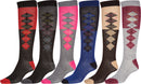 Sakkas Ladies Cute Colorful Design or Solid Knee High Socks Assorted 6-Pack Diamond