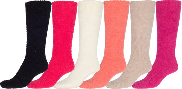 Sakkas Womens Super Soft Anti-Slip Fuzzy Knee High Socks Value Assorted 6-Pack#color_Plain 6 Asst Colors