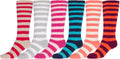 Sakkas Womens Super Soft Anti-Slip Fuzzy Knee High Socks Value Assorted 6-Pack#color_Stripe 6 Asst Colors
