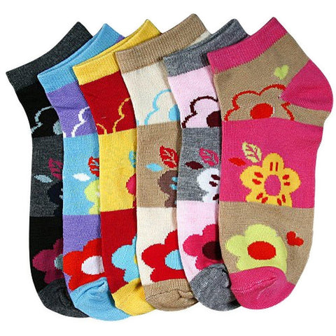 Sakkas Women's Poly Blend Soft and Stretchy Low cut Pattern Socks Asst 6-Pack
